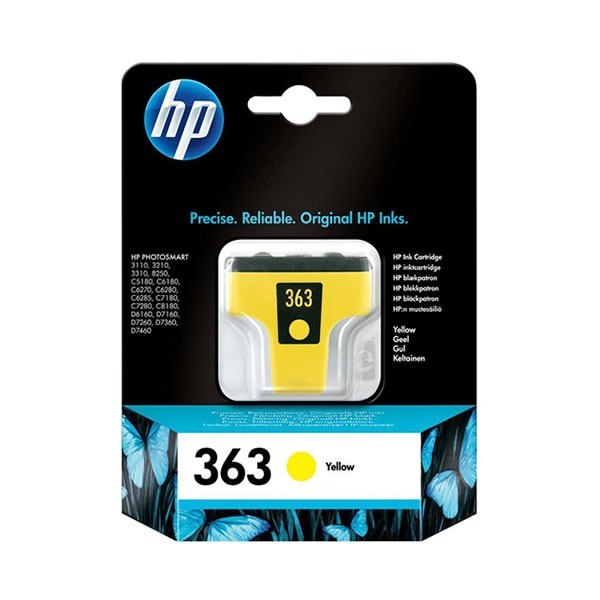 HP 363Y Cartucho de Tinta Original Amarillo