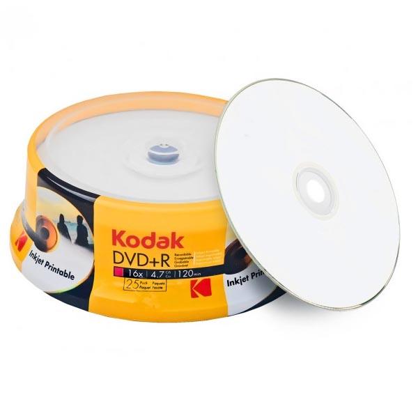 DVD+R 16x Kodak Inkjet Printable Blanco FF Tarrina 25 Uds.