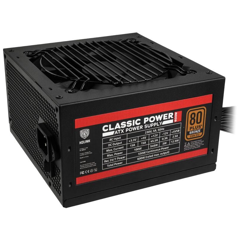 Fuente de Alimentación Kolink Classic Power 80 PLUS Bronze 600W