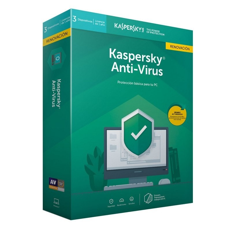 Kaspersky Anti-Virus 2019 3 Dispositivos - Renovación
