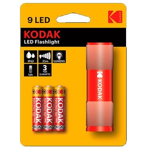Linterna Aluminio Kodak 9LED Rojo 46 Lumens