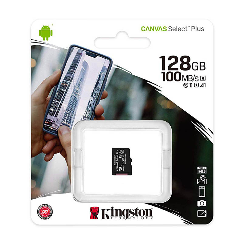 Tarjeta MicroSDXC 128GB Clase 10 UHS-I V10 Kingston Canvas Select Plus sin Adap