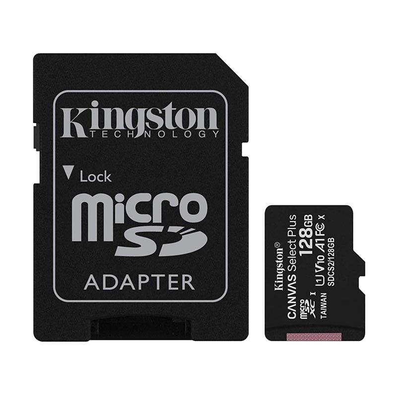 Tarjeta MicroSDXC 128GB Clase 10 UHS-I V10 Kingston Canvas Select Plus c/Adap