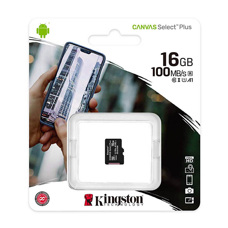 Tarjeta MicroSDHC 16GB Clase 10 UHS-I V10 Kingston Canvas Select Plus sin Adap