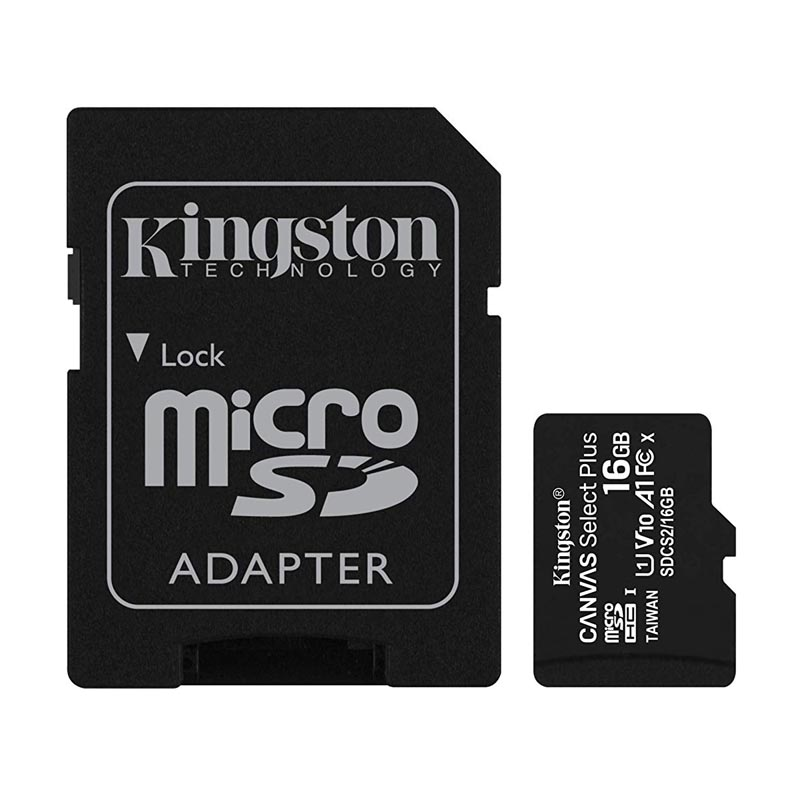 Tarjeta MicroSDHC 16GB Clase 10 UHS-I V10 Kingston Canvas Select Plus c/Adap