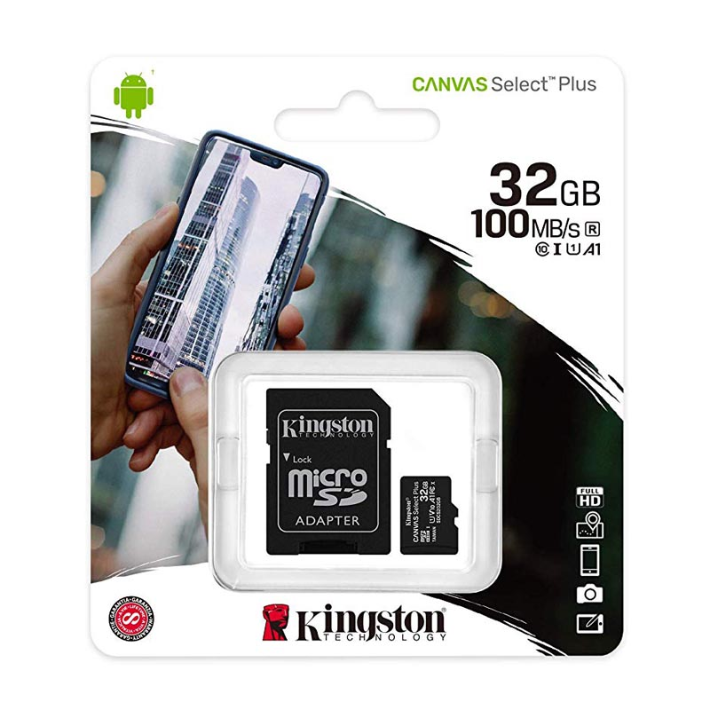 Tarjeta MicroSDHC 32GB Clase 10 UHS-I V10 Kingston Canvas Select Plus c/Adap