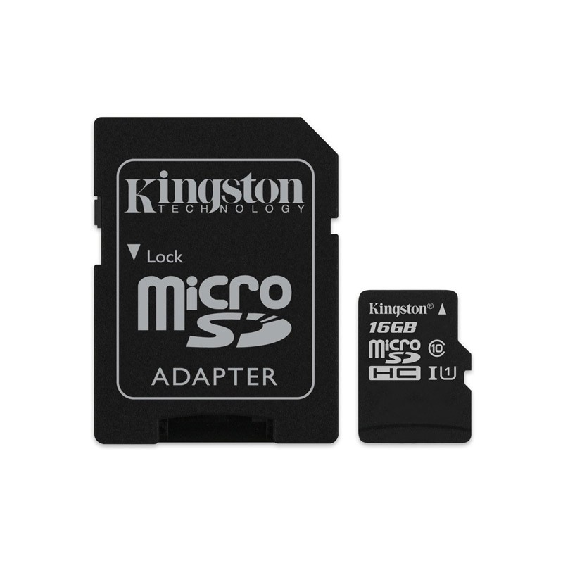 Tarjeta MicroSDHC 16GB Clase 10 UHS-I Kingston Canvas Select 80 MB/s - c/adapt