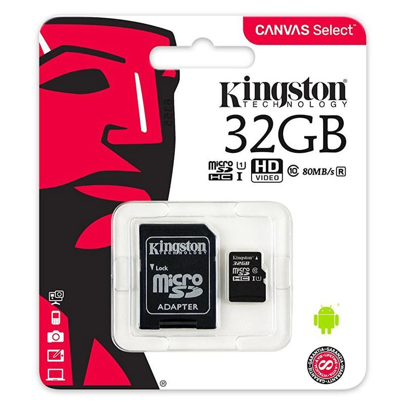 Tarjeta MicroSDHC 32GB Clase 10 UHS-I Kingston Canvas Select 80 MB/s - c/adapt