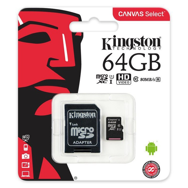 Tarjeta MicroSDXC 64GB Clase 10 UHS-I Kingston Canvas Select 80 MB/s - c/adapt