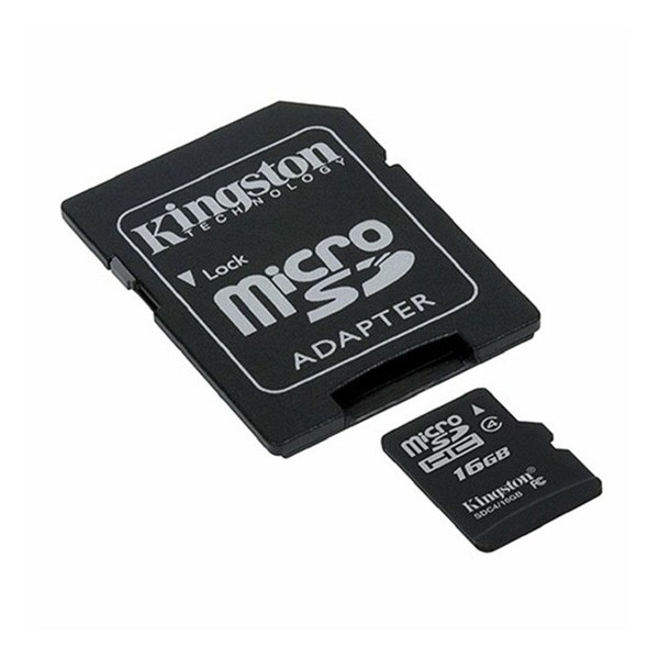 Tarjeta MicroSDHC 16GB Clase 4 Kingston c/Adaptador SD