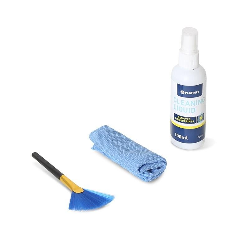 Platinet Kit Limpieza Pantallas + Microfibra + Cepillo