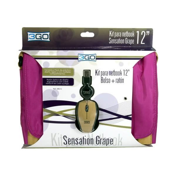 "Kit Raton + Bandolera para Netbook 10-12"" 3Go Sensation Grape"