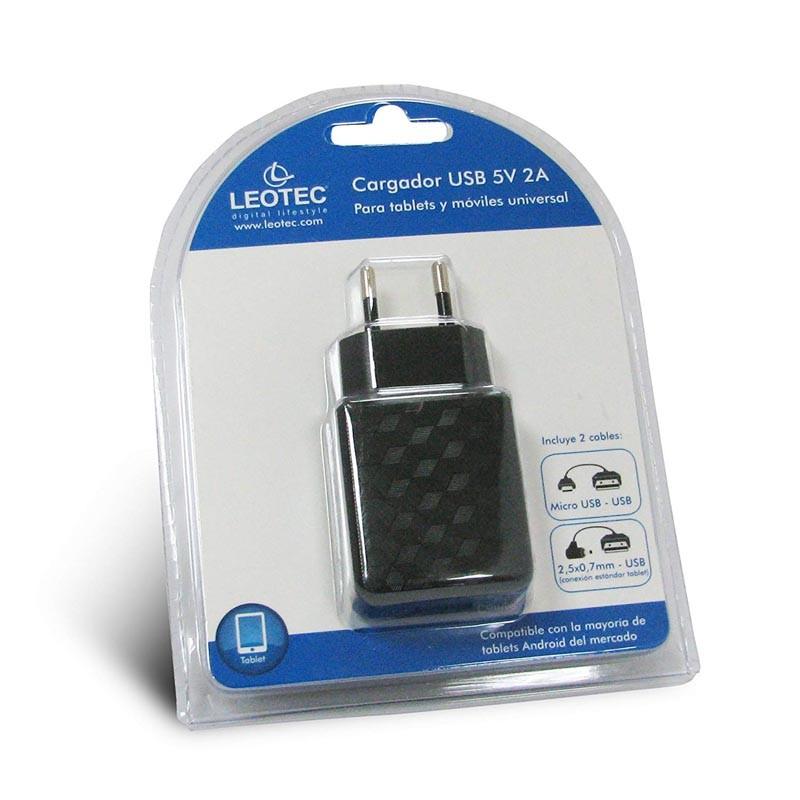 Cargador USB de Pared Leotec LECTABUSB Negro