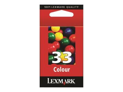 Lexmark Cartridge No.33 Cartucho de Tinta Original Cian, Magenta, Amarillo