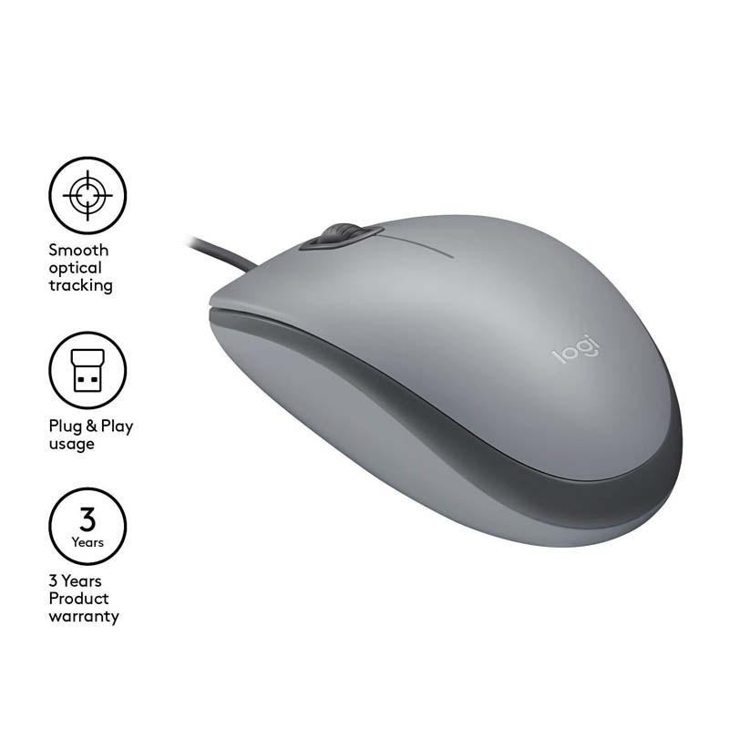 Ratón USB Logitech M110 Silent Mid Grey