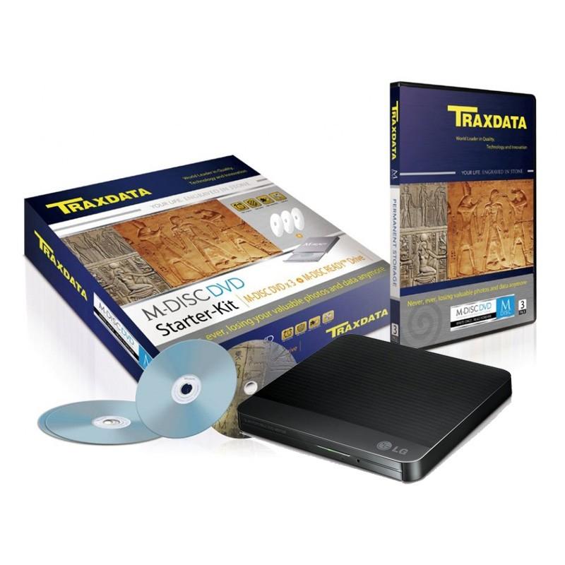 M-Disc DVD Traxdata Starter-Kit (Grabadora + 3 DVD)