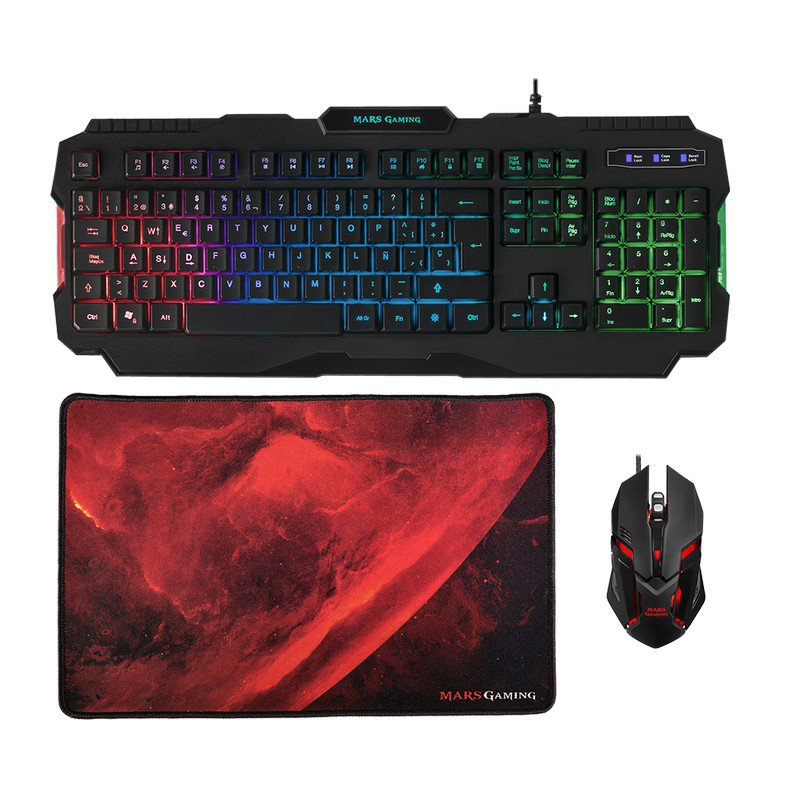 Pack Teclado + Raton + Alfombrilla Mars Gaming MCP118