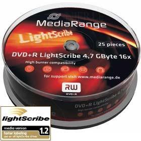 DVD+R MediaRange 16x Lightscribe Tarrina 25 Uds.