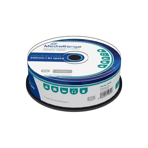 DVD+R Doble Capa 8X MediaRange Tarrina 25 uds