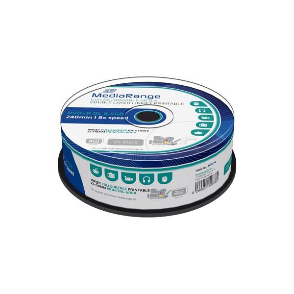 DVD+R Doble Capa 8X MediaRange FF Printable Tarrina 25 uds