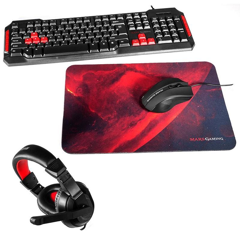 Teclado + Ratón + Auriculares + Alfombrilla Mars Gaming MACP1