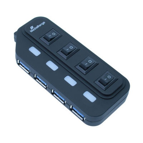 HUB 4 Puertos USB 3.0 con Interruptor y Alimentacion Mediarange
