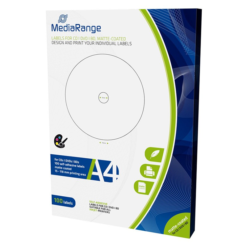 Etiquetas Mediarange para CD/DVD/Bluray 15/118mm Pack 100