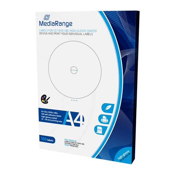 Etiquetas Mediarange Alto Brillo CD/DVD/Bluray 15/118mm Pack 100