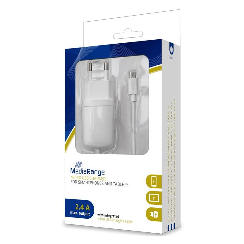 MediaRange Cargador MicroUSB 2.4A Blanco
