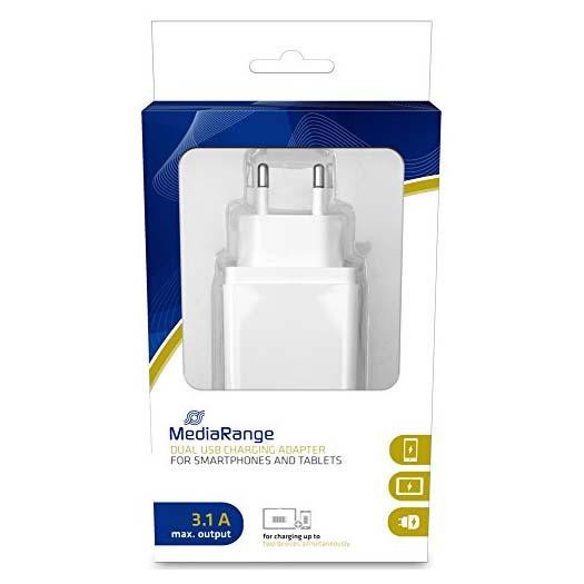 Cargador CA con 2 Puertos USB MediaRange Blanco