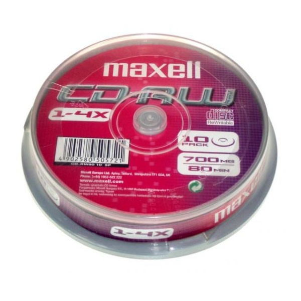 CD-RW 4x 700MB Maxell ReWritable Tarrina 10 Uds