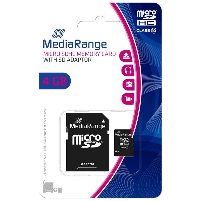 Tarjeta MicroSDHC 4GB Clase 10 Mediarange MR956 c/Adapt