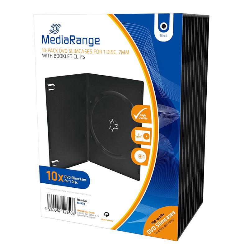 MediaRange Caja DVD Slim 7mm 10 uds - Negro