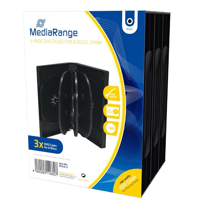 MediaRange Caja DVD parar 8 discos Pack 3 uds