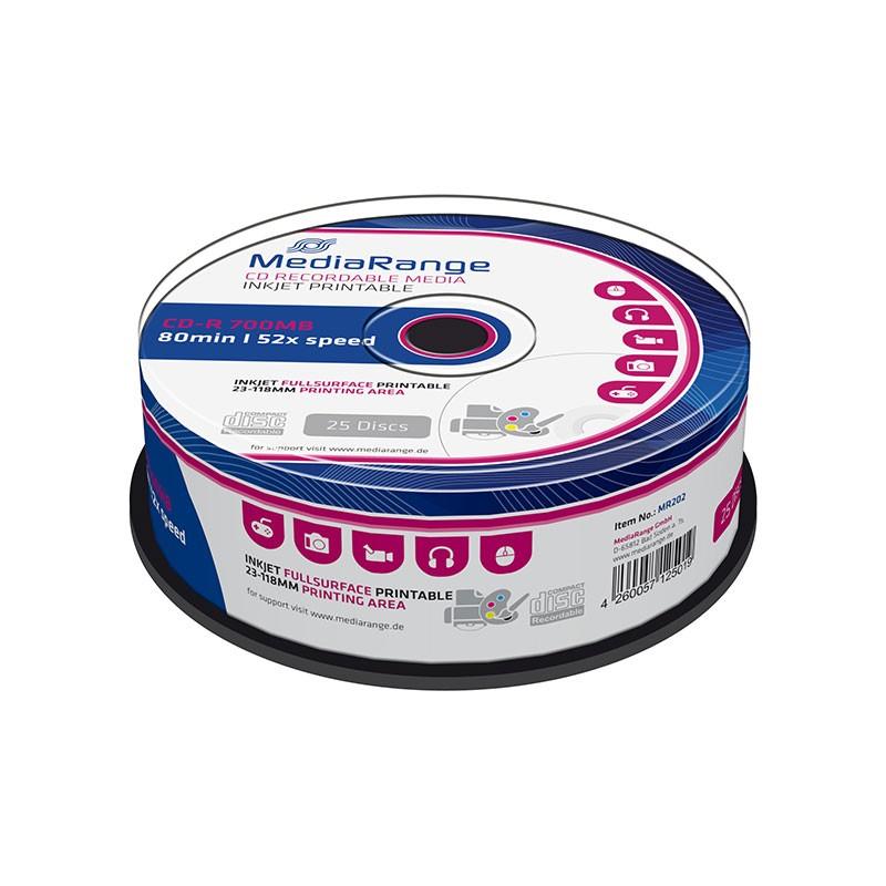 CD-R Mediarange 52x Inkjet FF Printable Tarrina 25 uds