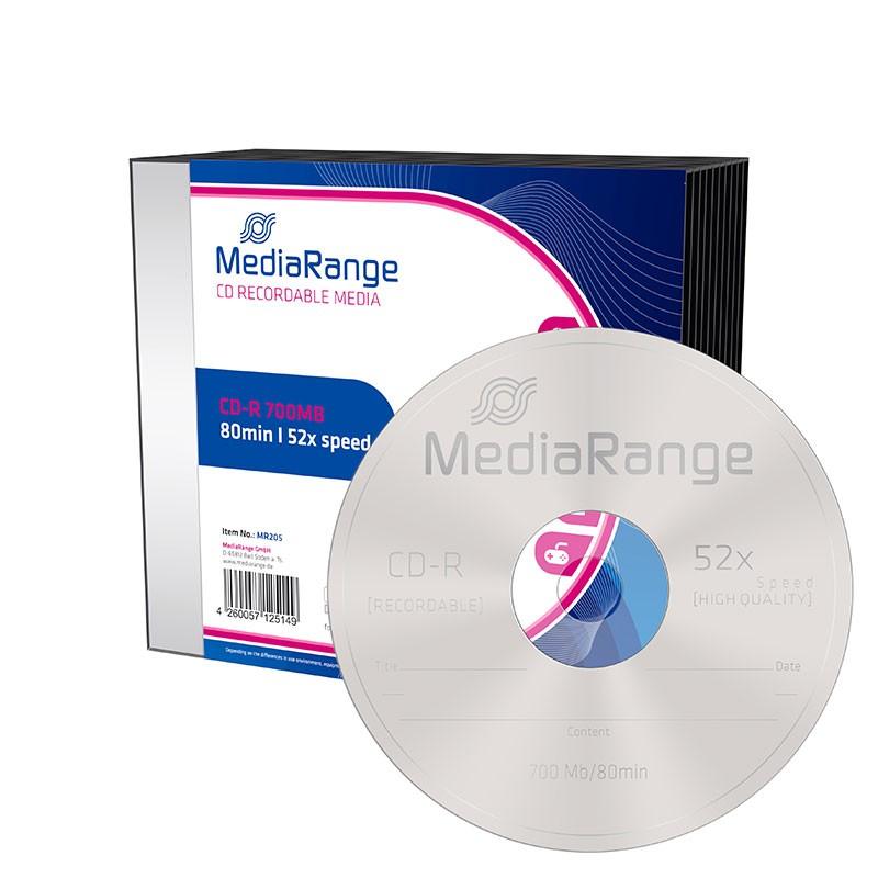 CD-R 52x 700MB MediaRange Caja Slim 10 uds
