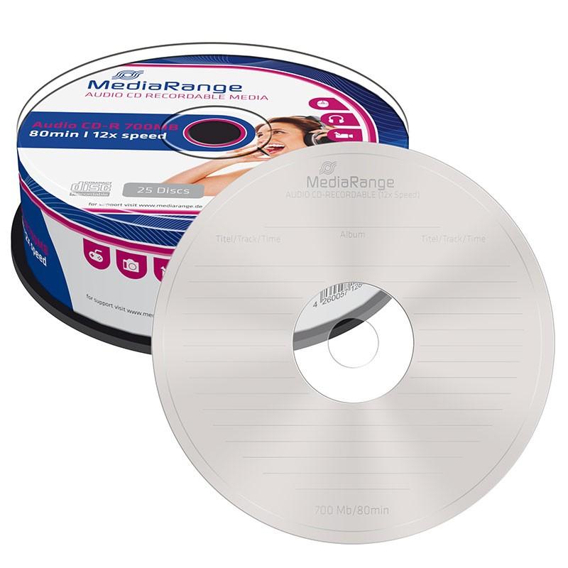 CD-R Audio MediaRange 80 min Tarrina 25 uds