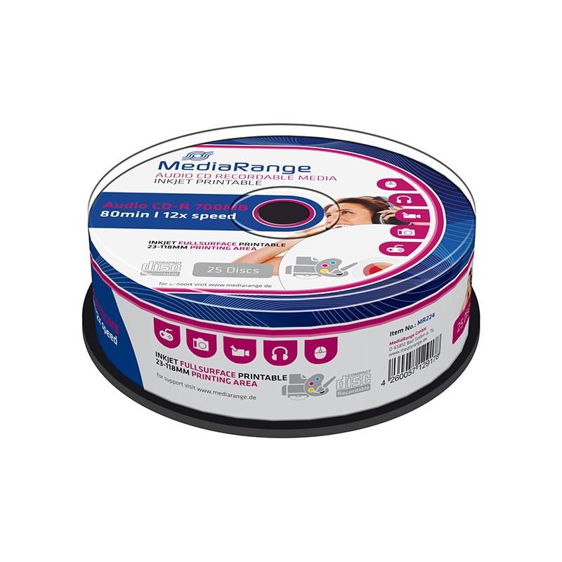 CD-R Audio FF Printable MediaRange 80 min Tarrina 25 uds