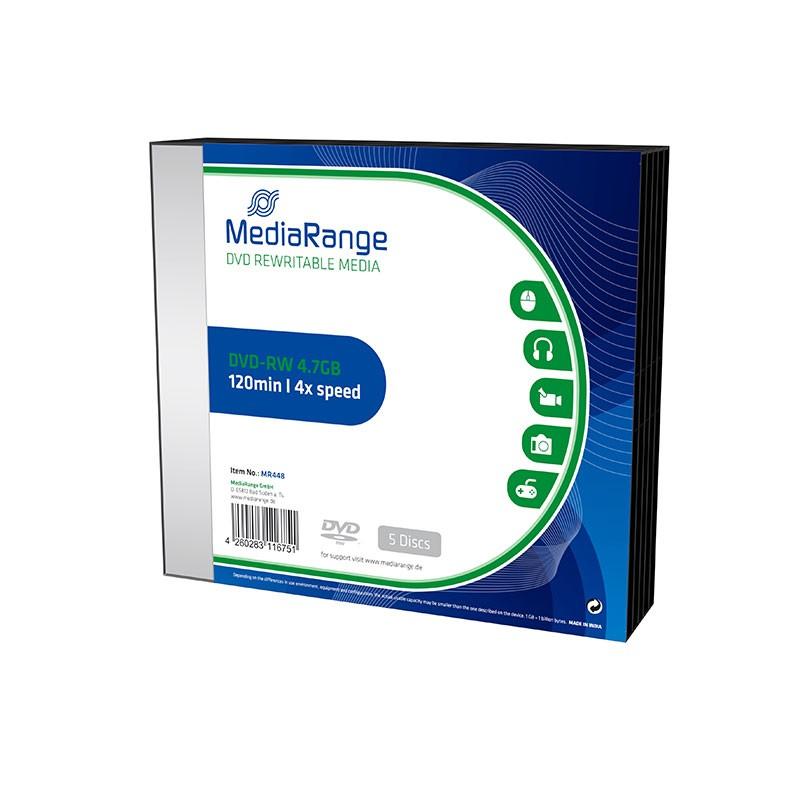 DVD-RW MediaRange 4x Caja SLIM 5 Uds