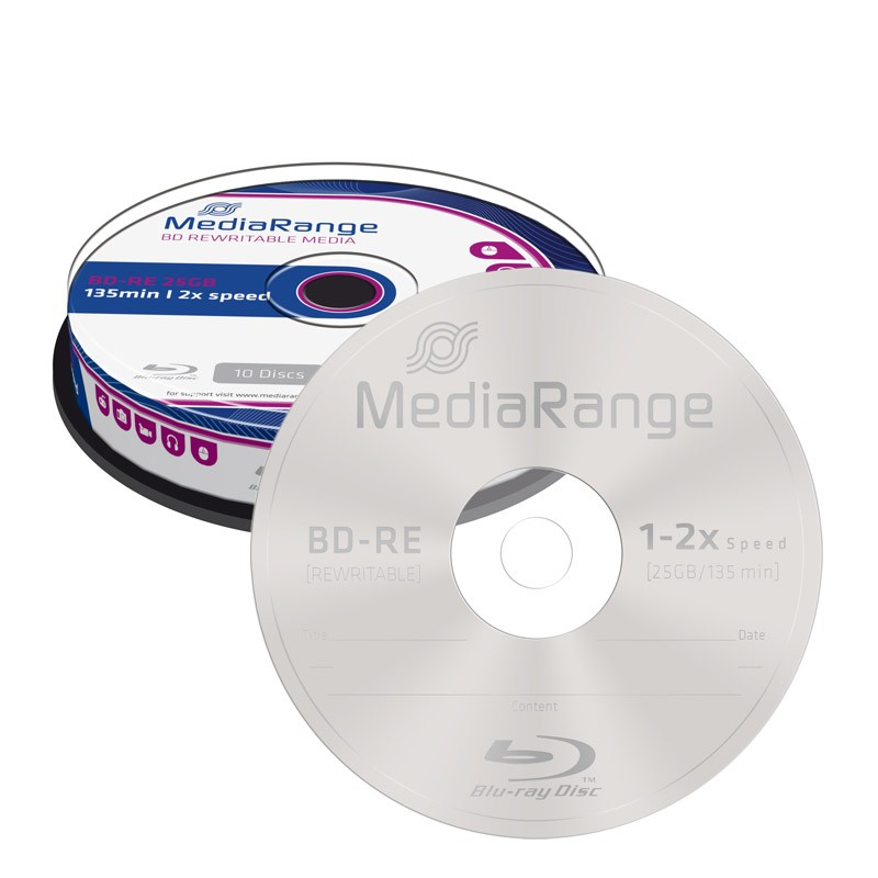 Blu-ray BD-RE SL 25GB 2x MediaRange (Regrabable) Tarrina 10 uds