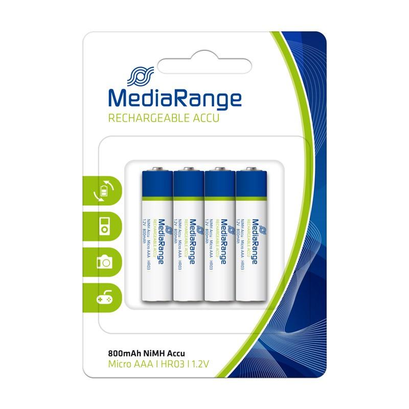 Pilas Recargables AAA HR03 800mAh MediaRange pack 4 uds