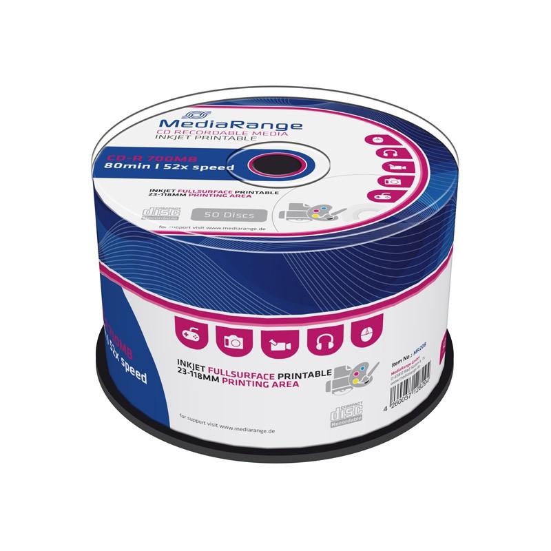 CD-R Mediarange 52x Inkjet FF Printable Tarrina 50 uds