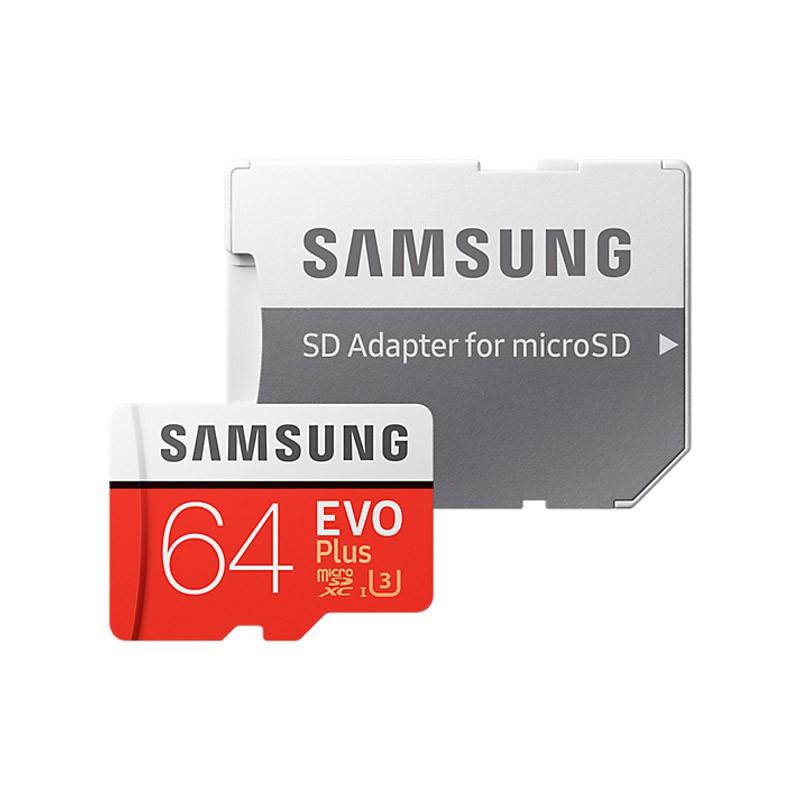 Tarjeta MicroSDXC 64GB Clase 10 UHS-I U3 Samsung EVO Plus c/Adapt
