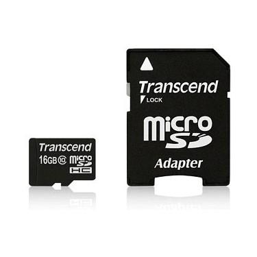 Tarjeta MicroSDHC 16GB Clase 10 UHS-I Transcend 300x (Adapt SD)