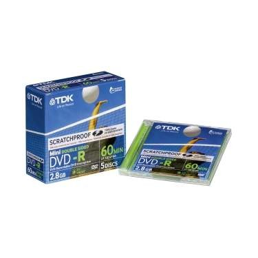 Mini DVD-R 2x TDK 2.8GB Doble Cara Caja Jewel 5 pcs