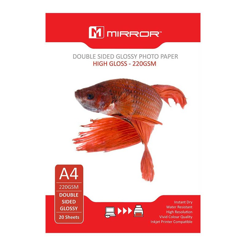 Mirror Papel Glossy Doble Cara 220 G/m2 Pack 20 uds A4