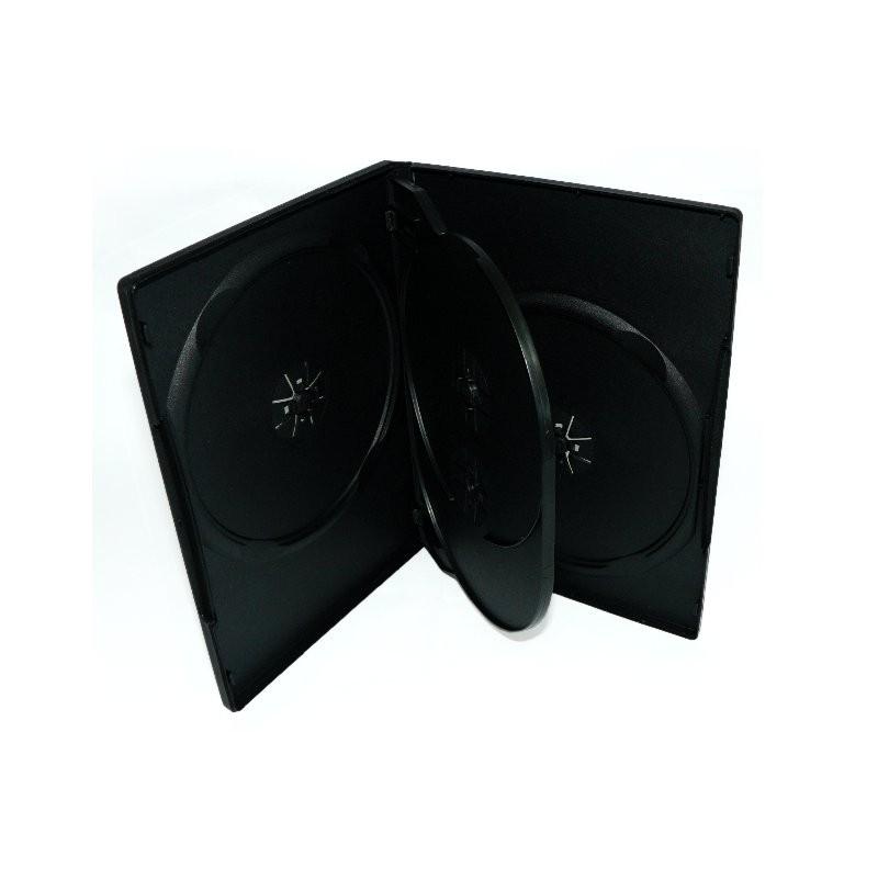 Caja Multi DVD-4 18mm Negra (1 Bandeja) AMPS 100 uds