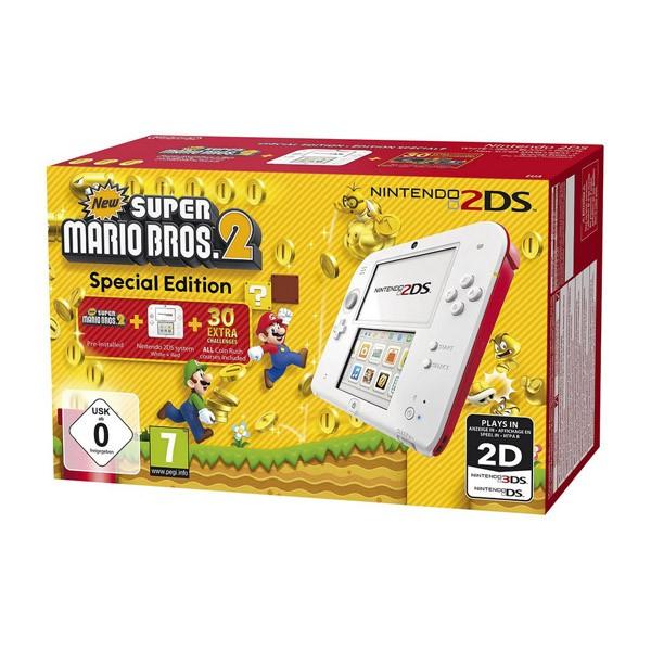 Nintendo 2DS Roja/Blanca + New Super Mario Bros 2 (Preinstalado)