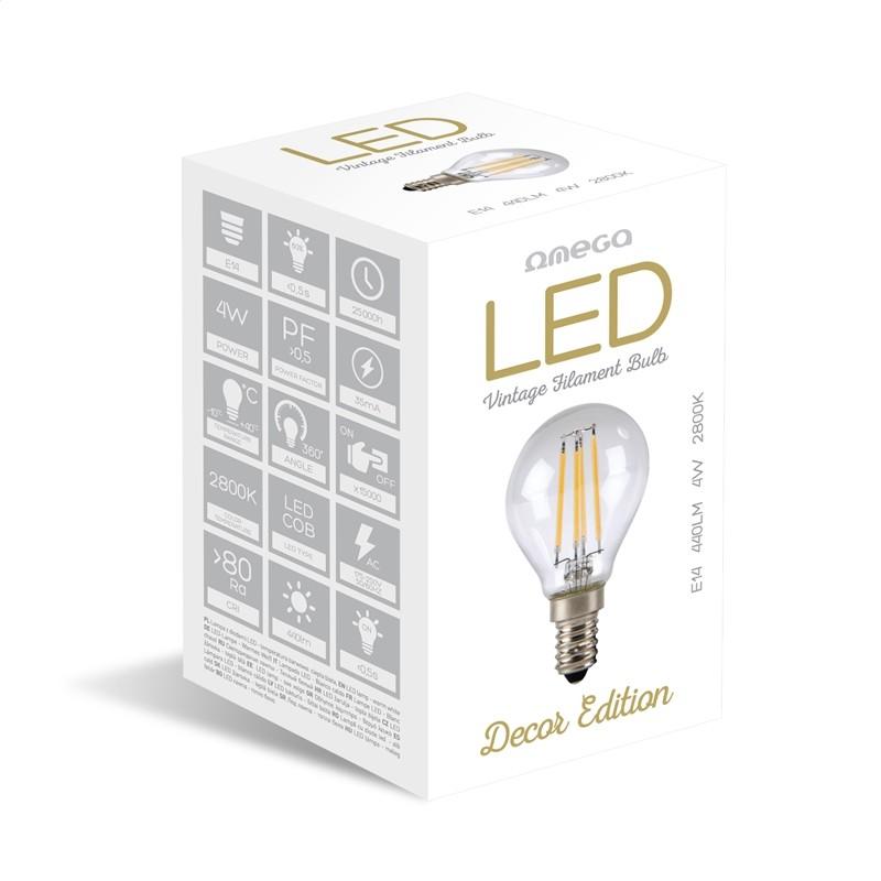 Bombilla Filamento LED Omega Filament E14 4W 2800K 400lm