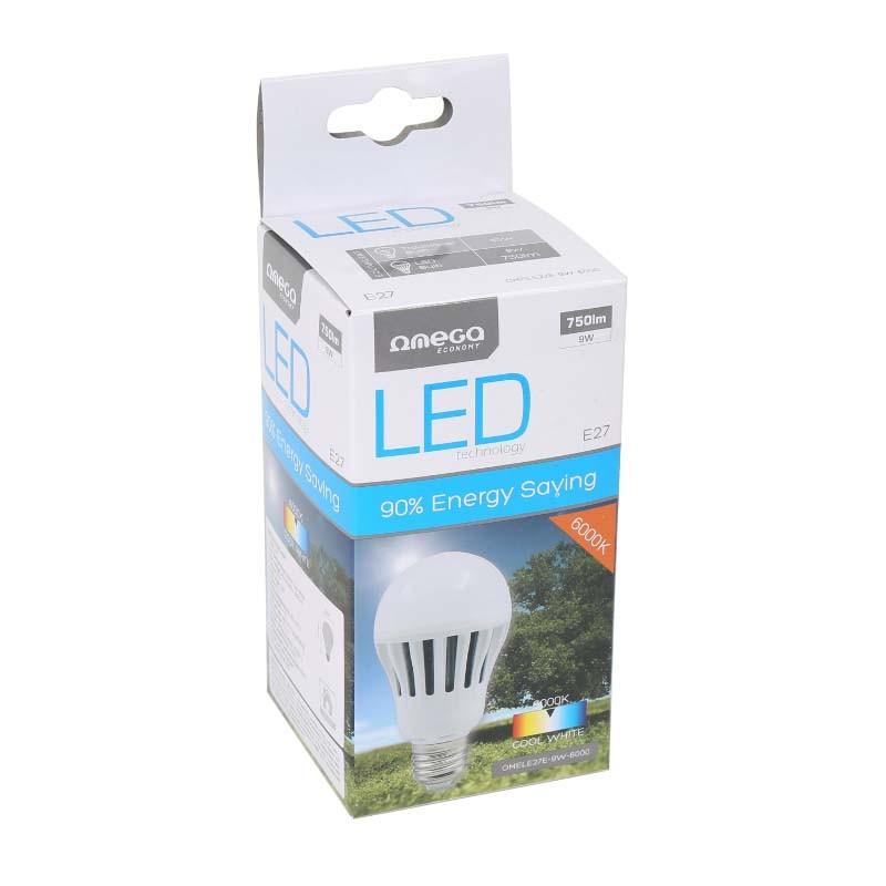 Bombilla LED Omega Eco 9W 6000K E27 (750lum)